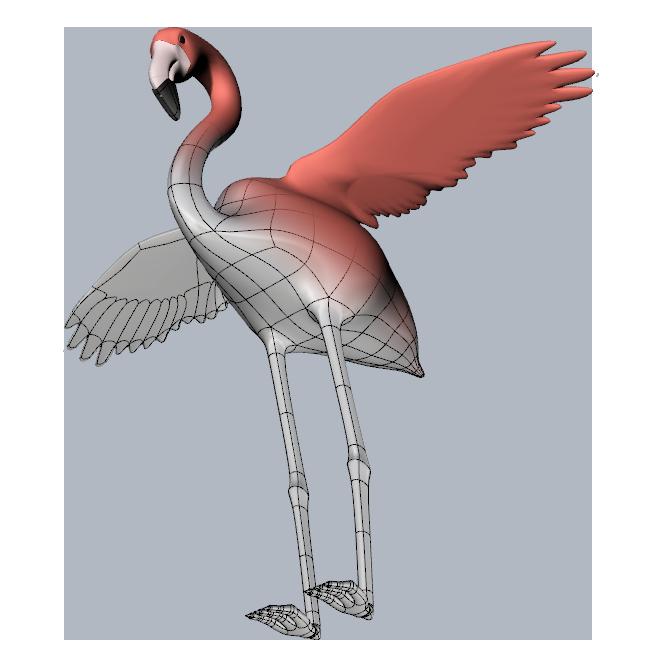 Clayoo Flamingo dual rendering modellazione 3d